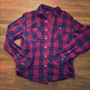 Plain Red and Blue Button Down Men's Shirt